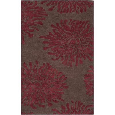 Parson Chocolate/Red Area Rug Rug Size: 5 x 8
