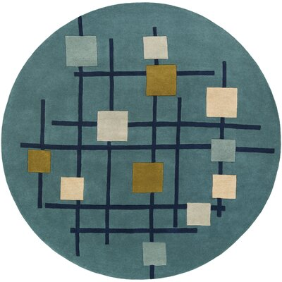 Dewald Hand-Tufted Teal Blue Area Rug Rug Size: Square 4