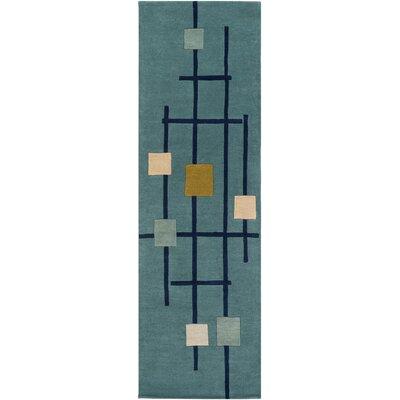 Dewald Hand-Tufted Teal Blue Area Rug Rug Size: Runner 26 x 8