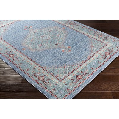 Almaraz Distressed Bright Blue/Mint Area Rug