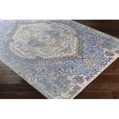 Almaraz Distressed Violet/Cream Area Rug