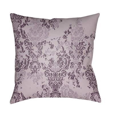 Moody Damask Distressed Outdoor Throw Pillow Color: Dark Purple