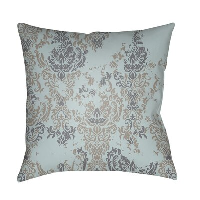 Moody Damask Distressed Outdoor Throw Pillow Color: Charcoal