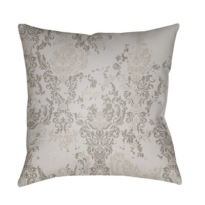Moody Damask Distressed Outdoor Throw Pillow Color: Beige