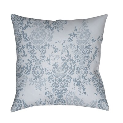 Moody Damask Distressed Outdoor Throw Pillow Color: Blue