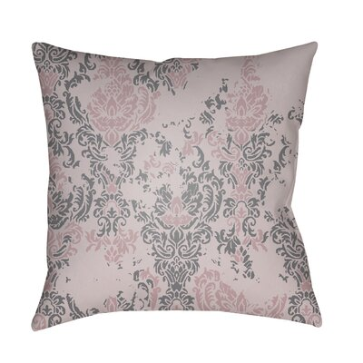 Moody Damask Distressed Outdoor Throw Pillow Color: Rose