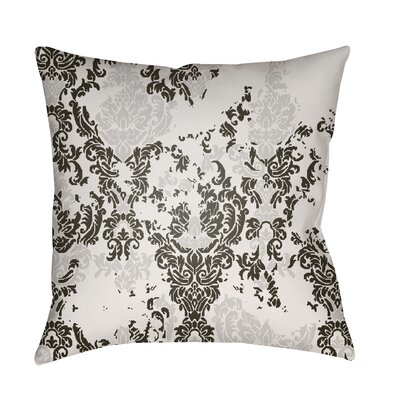 Moody Damask Distressed Outdoor Throw Pillow Color: White