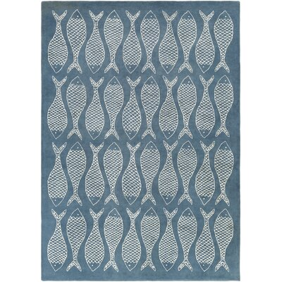 Brickyard Teal Blue/Ivory Rug Rug Size: Rectangle 8 x 11