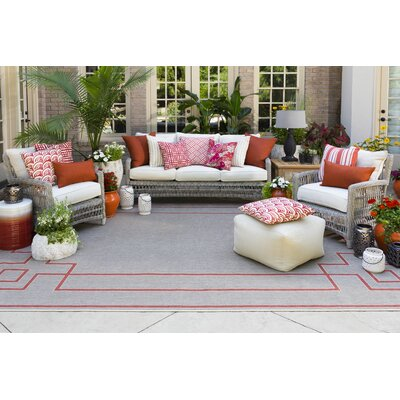 Pearce Beige/Cherry Indoor/Outdoor Area Rug Rug Size: Rectangle 36 x 56