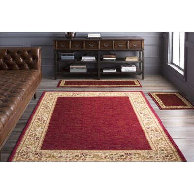 Arbus Dark Red/Wheat Area Rug Rug Size: 27 x 39