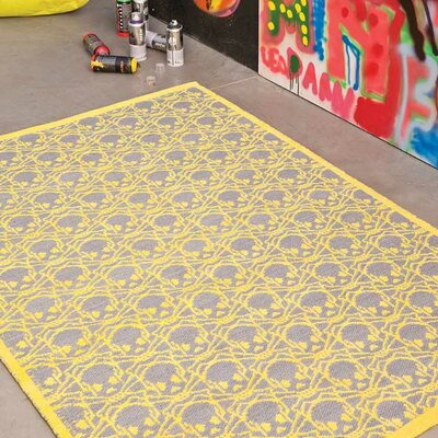Crocker Lemon/Slate Geometric Area Rug Rug Size: Rectangle 4' x 6'