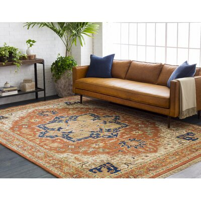 Orland Hand-Knotted Red Area Rug Rug Size: 79 x 99