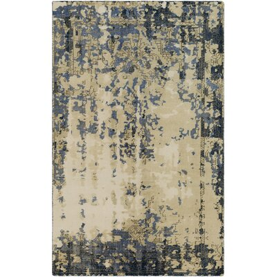 Jayden Hand-Knotted Bright Blue/Dark Blue Area Rug Rug Size: 6 x 9