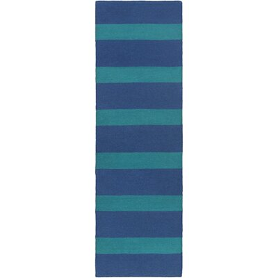Peugeot Hand-Woven Blue/Green Outdoor Area Rug Rug Size: Runner 26 x 8