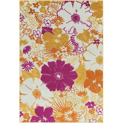 Jolene Pink/Yellow Indoor/Outdoor Area Rug Rug Size: 5 3 x 7 3