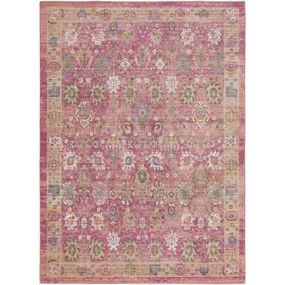 Fields Oriental Pink / Yellow Area Rug Rug Size: Runner 211 x 71