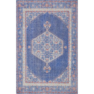 Alessi Hand-Knotted Blue Area Rug Rug Size: Rectangle 36 x 56