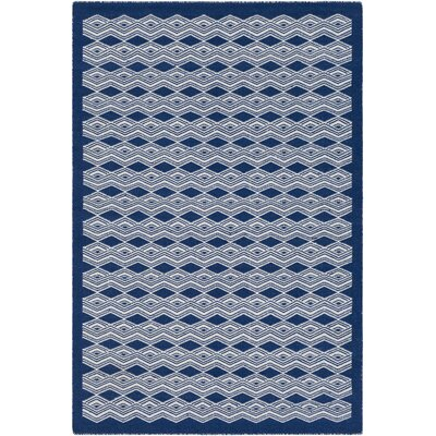 Jeannie Hand-Woven Dark Blue/Cream Area Rug Rug Size: 5 x 76