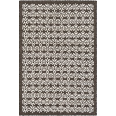 Jeannie Hand-Woven Dark Brown/Cream Area Rug Rug Size: Rectangle 8 x 10
