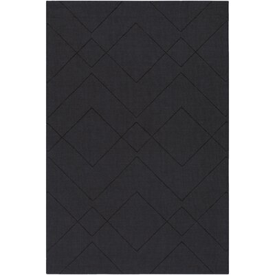 Belle Hand-Loomed Black Area Rug Rug Size: 8 x 10