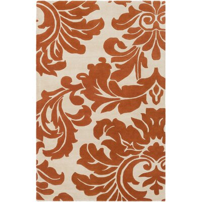 Millwood Hand-Tufted Burnt Orange/Cream Area Rug Rug Size: 76 x 96