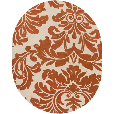 Millwood Hand-Tufted Burnt Orange/Cream Area Rug Rug Size: Round 99