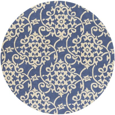 Millwood Hand-Tufted Violet/Butter Area Rug Rug Size: Round 8