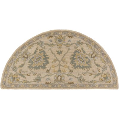 Millwood Hand-Tufted Green/Brown Area Rug Rug Size: Half Circle 2 x 4
