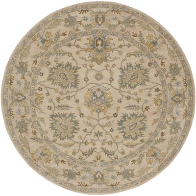Millwood Hand-Tufted Green/Brown Area Rug Rug Size: Round 4
