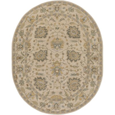 Millwood Hand-Tufted Green/Brown Area Rug Rug Size: Oval 6 x 9