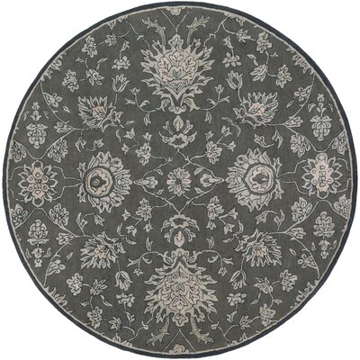 Keefer Hand-Tufted Wool Dark Brown Area Rug Rug Size: Round 8