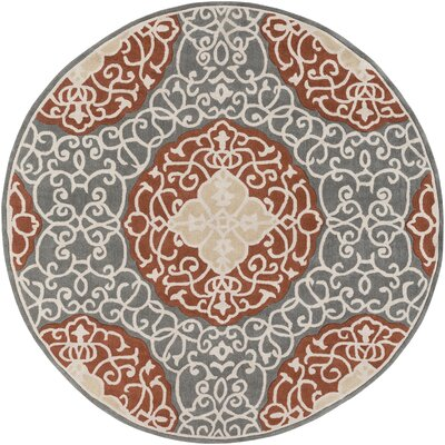 Windsor Hand-Tufted Camel/Gray Area Rug Rug Size: Round 8