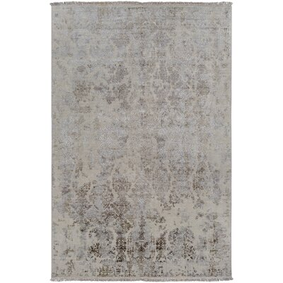 Palmateer Hand-Knotted Dark Brown Area Rug Rug Size: 9 x 13