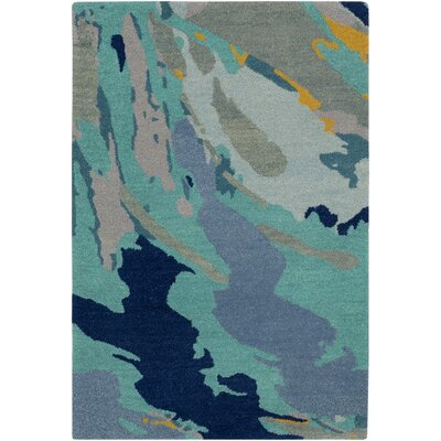 Angelena Hand-Tufted Green/Blue Area Rug Rug Size: 5 x 76