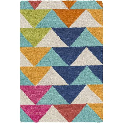 Angelena Hand-Tufted Mint/Blue/Orange Area Rug Rug Size: 2 x 3