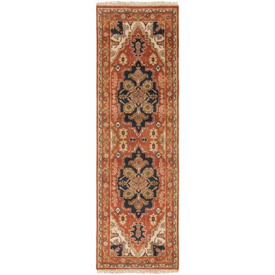 Orland Hand-Knotted Rust Area Rug Rug Size: Runner 26 x 8