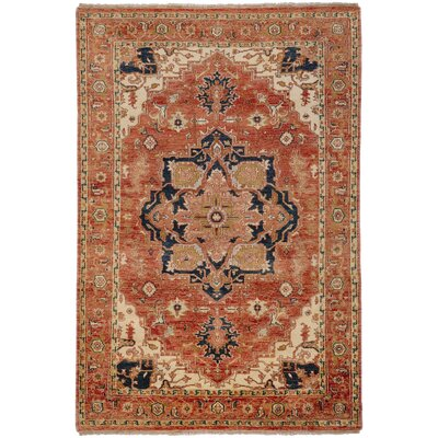 Orland Hand-Knotted Rust Area Rug Rug Size: 39 x 59