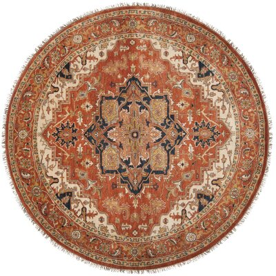 Orland Hand-Knotted Rust Area Rug Rug Size: Round 8