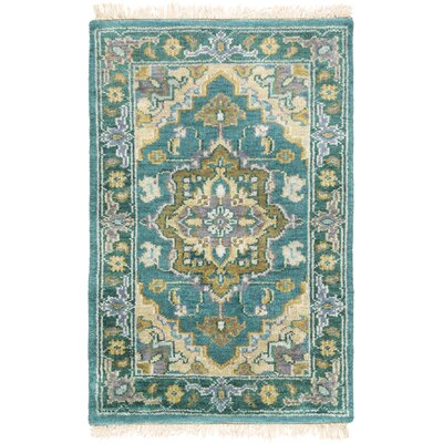 Orland Hand-Knotted Emerald Area Rug Rug Size: 2 x 3