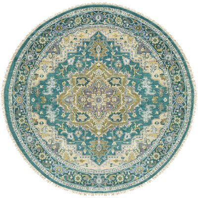 Orland Hand-Knotted Emerald Area Rug Rug Size: Round 8