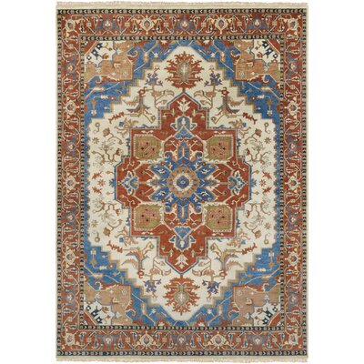 Orland Hand-Knotted Orange/Blue Area Rug Rug Size: 39 x 59