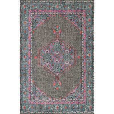Alessi Hand-Knotted Charcoal/Blue/Pink Area Rug Rug Size: Rectangle 56 x 86