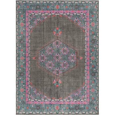 Alessi Hand-Knotted Charcoal/Blue/Pink Area Rug Rug Size: Rectangle 8 x 11