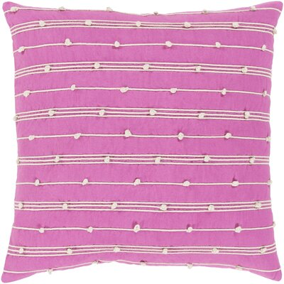 Bilbie 100% Cotton Pillow Cover Size: 18 H x 18 W x 3.5 D, Color: Pink, Fill Material: Poly Fill