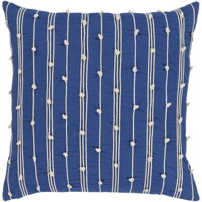 Bilbie 100% Cotton Pillow Cover Size: 22 H x 22 W x 4.5 D, Color: Blue, Fill Material: Down Fill