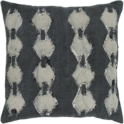 Owens 100% Cotton Throw Pillow Color: Black, Fill Material: Down Fill