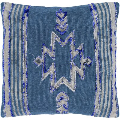 Barrera 100% Cotton Throw Pillow Color: Dark Blue, Fill Material: Down Fill