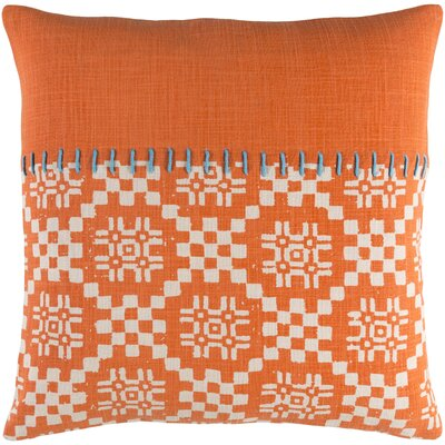 Mayson 100% Cotton Throw Pillow Size: 18 H x 18 W x 4.5 D, Color: Bright Orange, Fill Material: Down Fill
