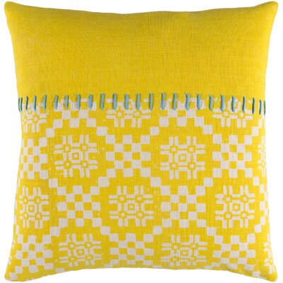 Mayson 100% Cotton Throw Pillow Size: 18 H x 18 W x 4.5 D, Color: Bright Yellow, Fill Material: Down Fill