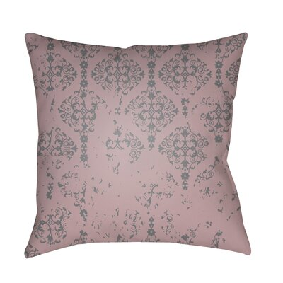 Patridge Damask Indoor/Outdoor Square Throw Pillow Color: Rose